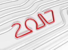 Red 2017 flows in a Glass Tube. New Year Typographic Arts Card. Royalty Free Stock Image