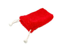 Red fluffy gift bag Stock Images