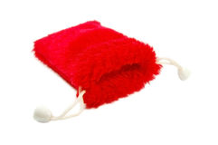 Red fluffy gift bag stock image