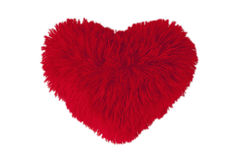 Red fluffy heart. Furry red heart on a white background Royalty Free Stock Photography