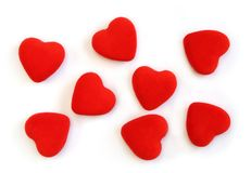 Red fluffy hearts Stock Photo