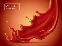 Red fluid special effect. Red fluid pouring down effect, isolated red background, 3d illustration Royalty Free Stock Images