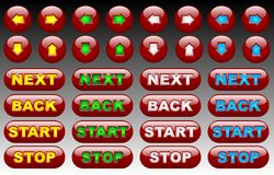 Red fluorescent web buttons Royalty Free Stock Photos