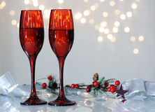 Red flutes with wine Royalty Free Stock Photography