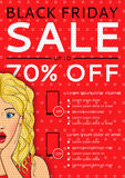 Red flyer of Black Friday sale with surprised woman and places for text in style pop art Stock Images