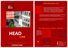 Red Flyer Template with a Blurred Image of Buildings Stock Photo