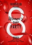 Red flyer for Women`s Day party Royalty Free Stock Image