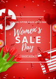 Red flyer for Women`s Day sale Royalty Free Stock Image