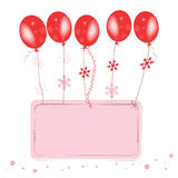 Red flying ballons with confetti space for text greeting card Royalty Free Stock Image