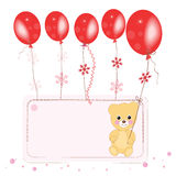 Red flying ballons with teddy bear space for text greeting card Stock Photos