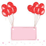 Red flying balloon place for text with confetti Stock Photography