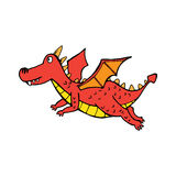 Red flying cute dragon in cartoon style Stock Photos
