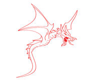 Red flying dragon illustration Stock Images