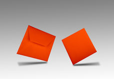 Red flying envelope and card Stock Photo