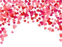Red flying hearts bright love passion vector background. Red flying hearts bright love passion frame border vector background. Romantic symbols confetti vector illustration