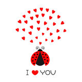 Red flying lady bug insect with hearts. Cute cartoon character. Happy Valentines Day. I Love you text. Greeting card. White backgr Royalty Free Stock Photography
