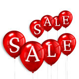 Red flying party balloons with text SALE Stock Image