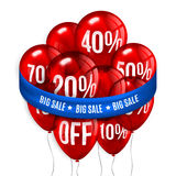 Red flying party balloons with text SALE and Stock Photography