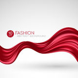 Red flying silk fabric. Fashion background. Vector illustration Royalty Free Stock Photography
