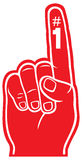 Red foam finger. Raised finger, pointing at something Royalty Free Stock Photography