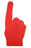 Red foam hand. Studio cutout Stock Photography