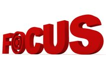 Red focus. Text with target 3d royalty free illustration