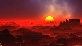 Red Fog on the Alien Planet. Dark rocks stand among a thick red glowing fog. A large bright yellow sun rises above the horizon. In the dark starry sky a blue royalty free illustration