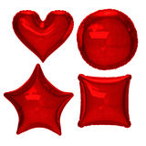 Red foil balloon set with clipping path Stock Image