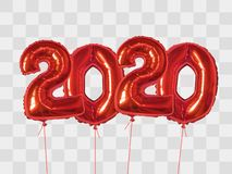 Red Foil Balloons Number 2020 Stock Photos