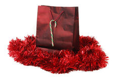 Red foil Christmas bag Stock Photos