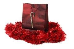 Red foil Christmas bag Stock Photos