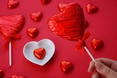 Creative Valentine`s Day concept, red hearts royalty free stock photos