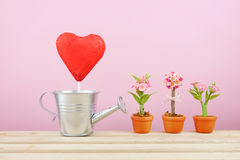 The red foiled chocolate heart stick with small silver watering can and mini fake flower in brown plant pot on wooden tray Stock Photography