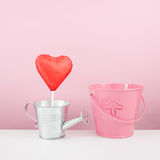 The red foiled chocolate heart stick with small silver watering can and small pink bucket Royalty Free Stock Photos