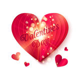 Red folded heart with shining particles and Valentines Day sign Royalty Free Stock Photography