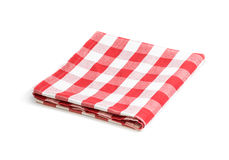 Red folded linen tablecloth isolated. Red folded tablecloth isolated on white Stock Images