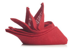 Red folded napkin Stock Photography