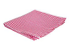 Red folded picnic cloth isolated. Stock Image