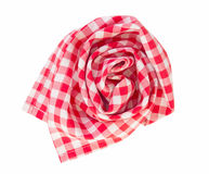 Red folded picnic cloth isolated. Folded picnic clothes. Checkered towel decorative element isolated Royalty Free Stock Photos