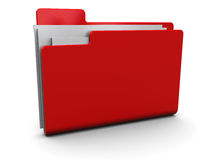 Red folder. 3d illustration of red folder icon over white background Royalty Free Stock Photo