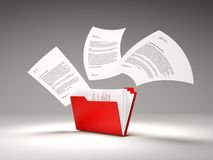 Red folder with files Stock Photo