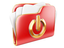 Red folder with power button Royalty Free Stock Photography
