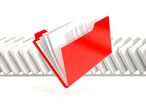 Red folder in a row Royalty Free Stock Images