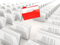 Red folder in a row Royalty Free Stock Photography