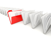 Red folder in a row Royalty Free Stock Photos