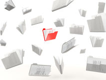 Red folder in a row Stock Photos