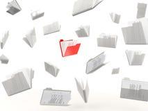 Red folder in a row Stock Photos