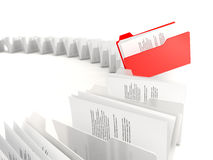 Red folder in a row Royalty Free Stock Photo