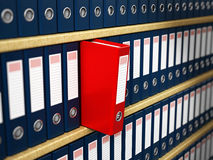 Red folder in the shelf. Red folder standing out in the shelf Royalty Free Stock Image