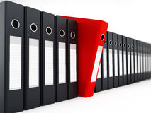 Red folder standing out from black folders. 3D illustration Stock Images